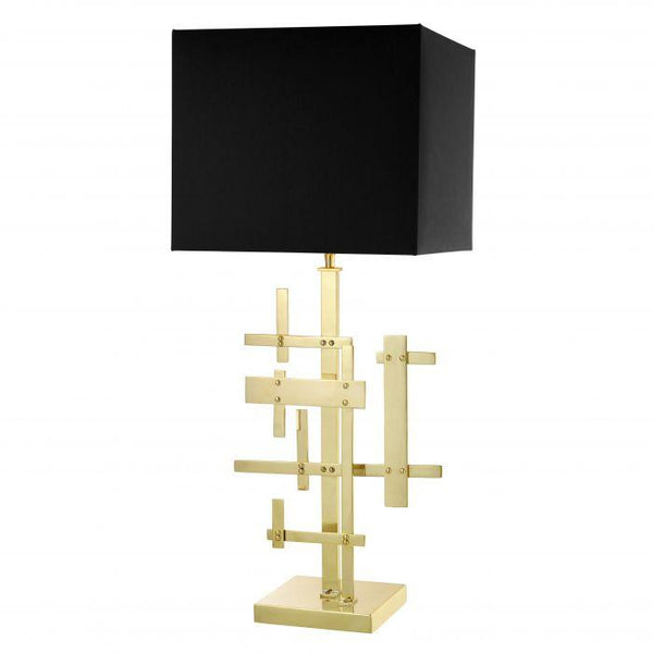 Table lamp tortuga polished brass incl shade