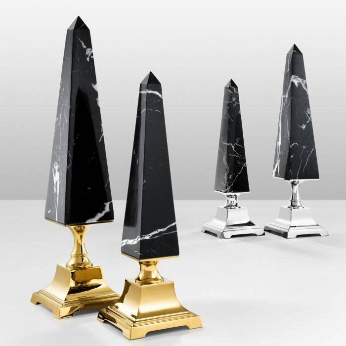 Obelisk layford S gold finish black marble