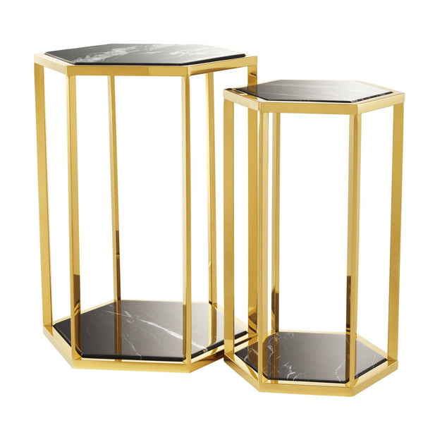 Side table taro gold finish  set of 2