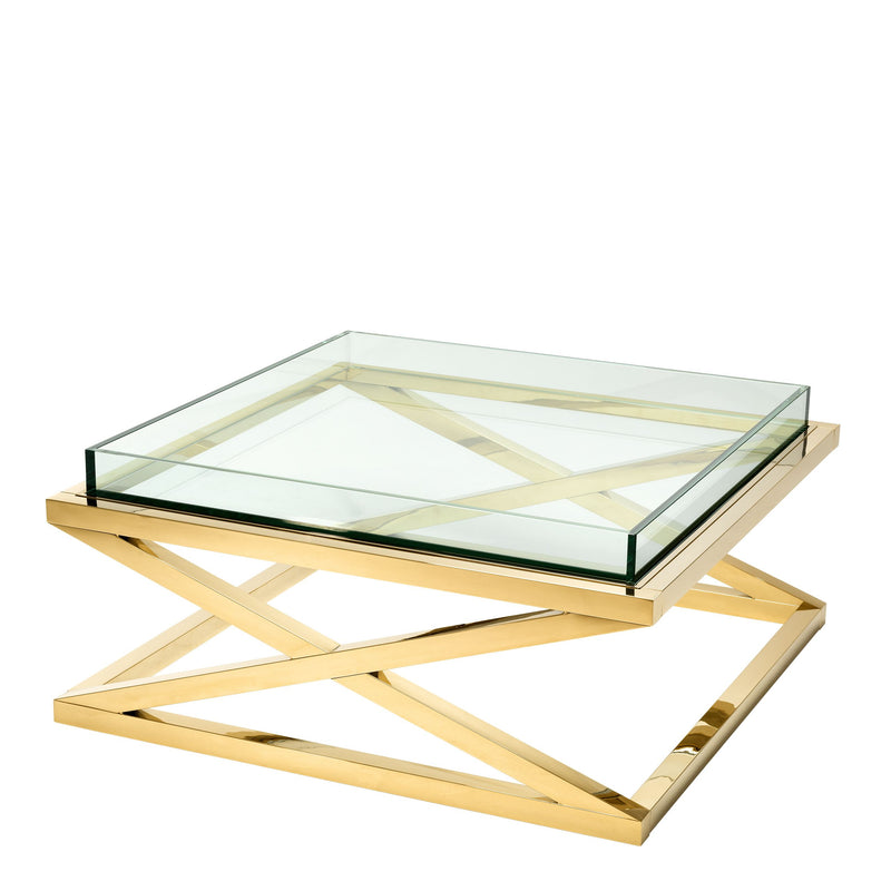 Coffee table curtis gold finish