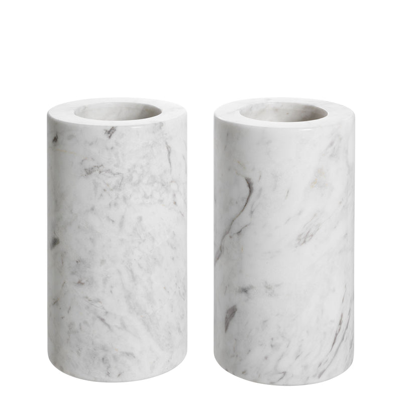 Tealight holder tobor M white marble set of 2