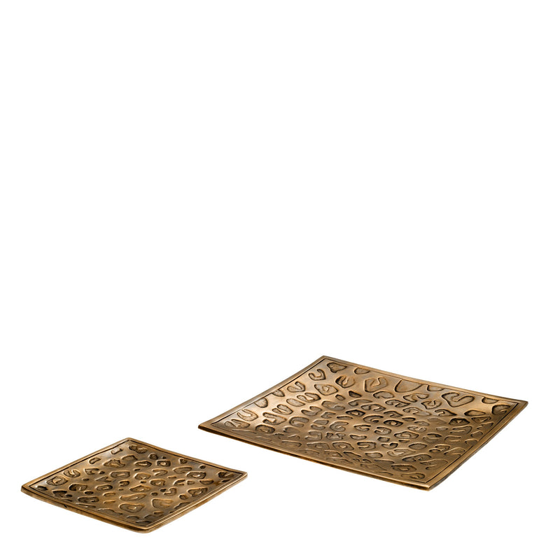 Tray jaguar vintage brass finish set of 2