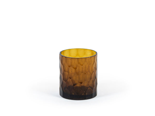 Smoke shiny honeycomb cut amber 8 x 9 cm