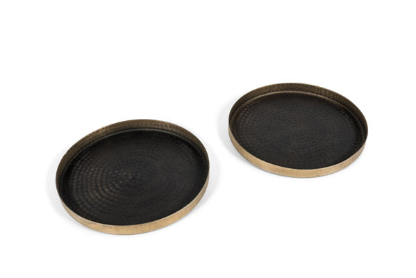Plate in Black Antique & Edge Highlight Finish Ø29 x 2,5 cm