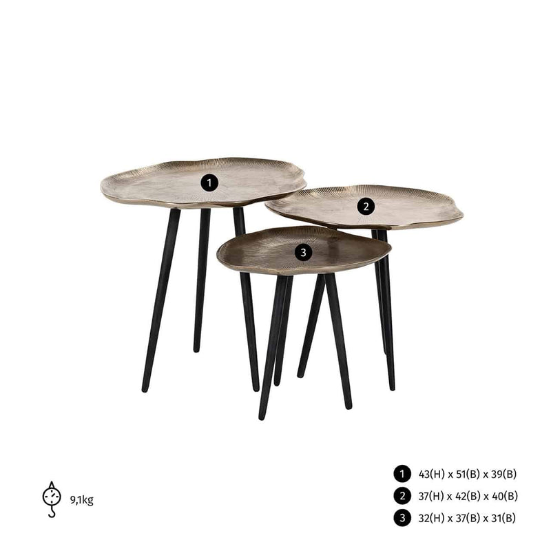 Coffee table Volenta set of 3 in champagne gold