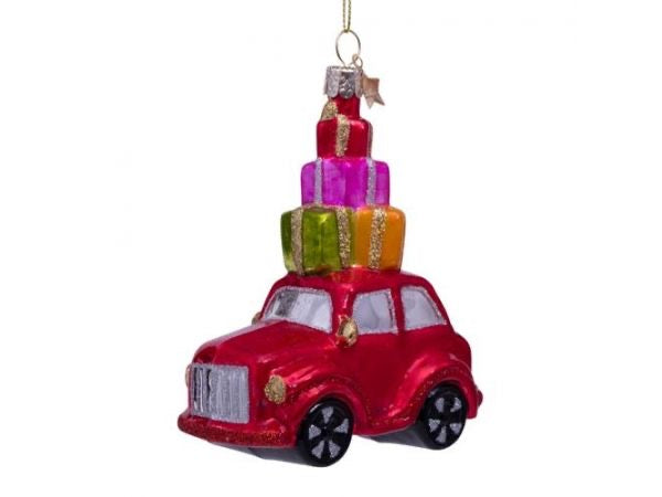 Ornament glass red car w/presents on top