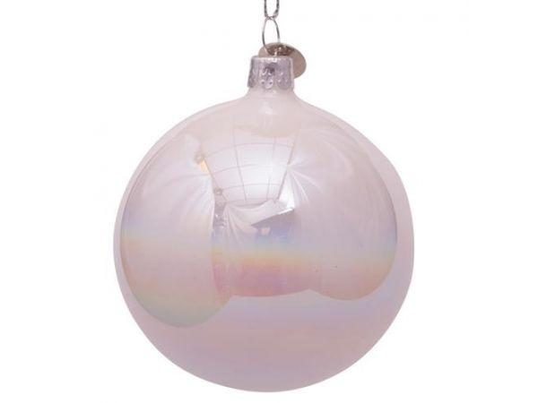Bauble glass white oil H8cm