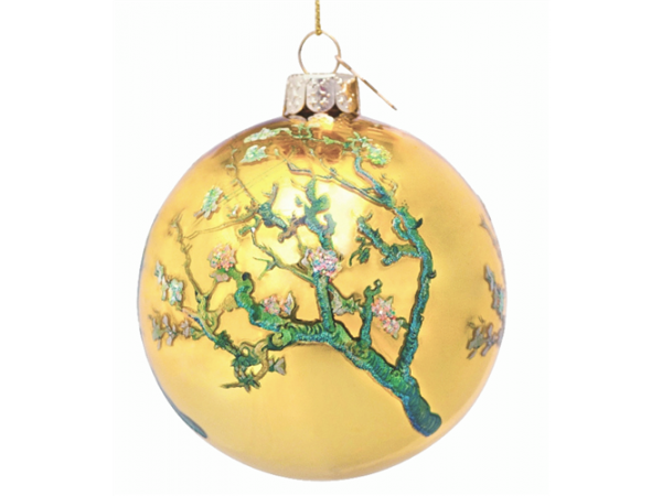 Bauble glass Van Gogh gold w/almond blossom H8cm w/box