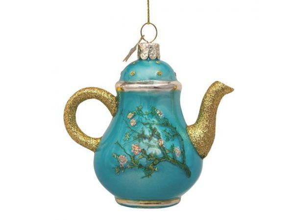 Ornament glass Van Gogh blossom blue teapot H10cm w/box*