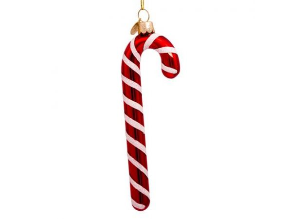 Ornament glass red/white candy cane H14cm