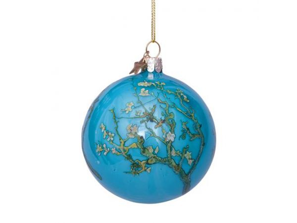 Bauble glass Van Gogh blue w/almond blossom H8cm w/box