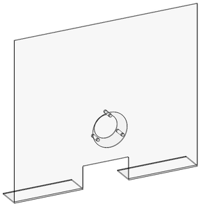 High-quality counter mounted acrylic sneeze guard with a communication hold from PPE supplier, Archmill House Inc.