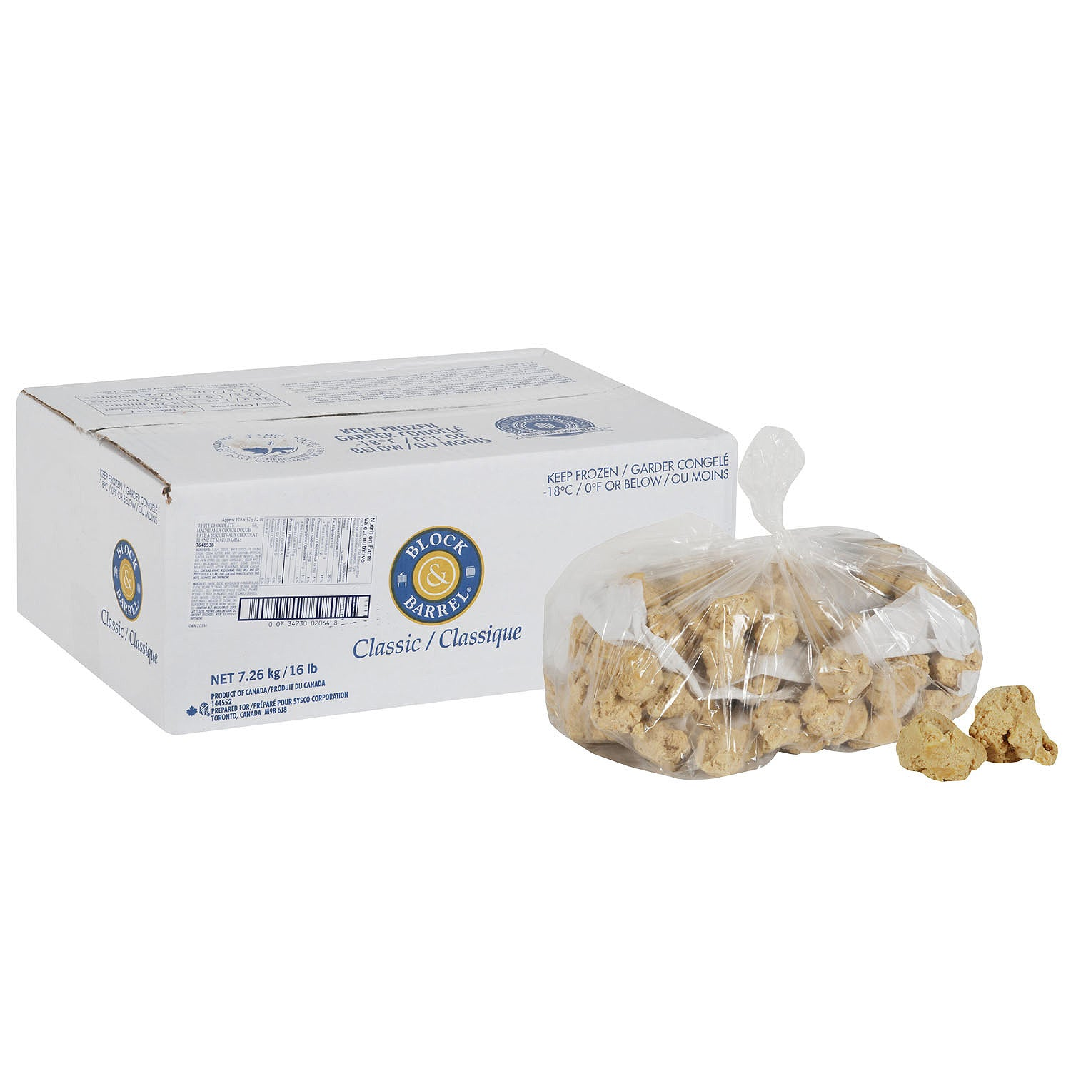 Sysco Block & Barrel Frozen White Chocolate Macadamia Nut Cookie Dough 56 g - 128 Pack [$0.42/each]