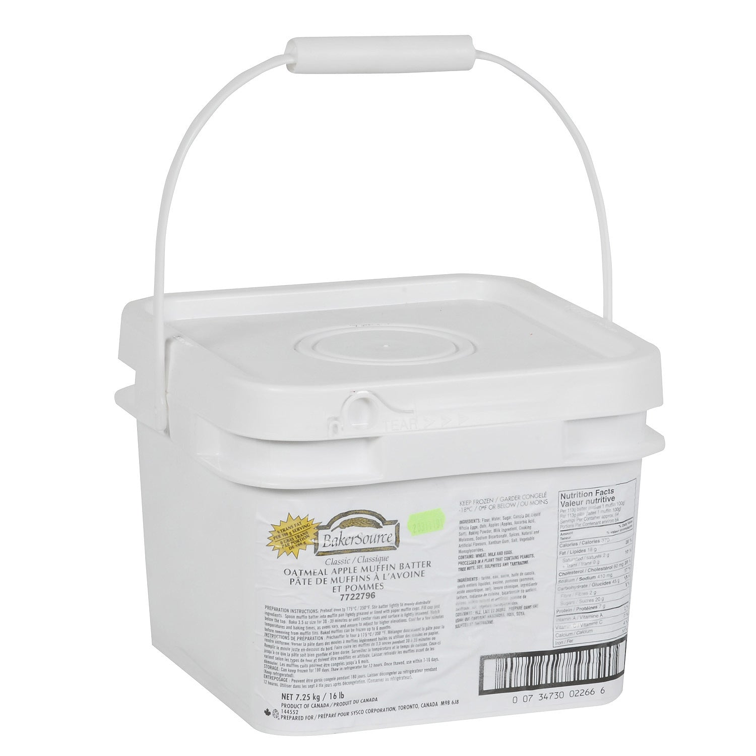 Sysco Baker's Source Frozen Apple Oatmeal Muffin Batter 7.25 kg - 1 Pack [$4.14/kg]
