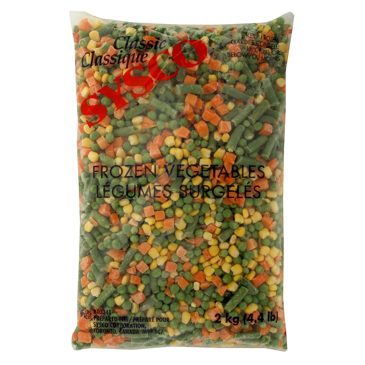 Sysco Classic Frozen Vegetable Mix 4 Way (Carrots/Corn/Peas/Green & Wax Beans) 2 kg - 6 Pack [$3.58/kg]