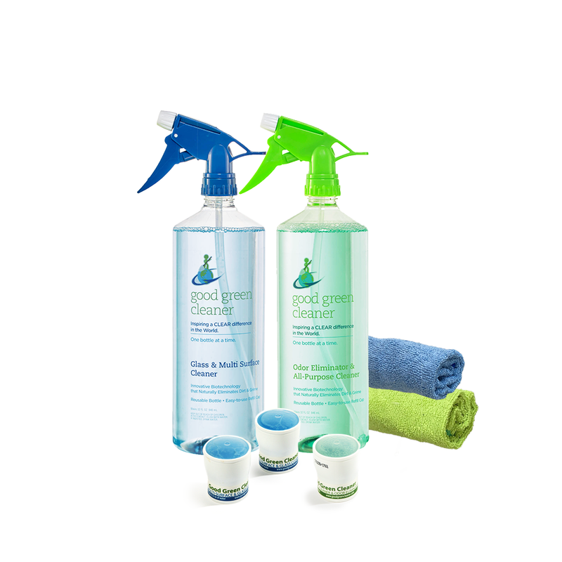 Odor Eliminator & All-Purpose Cleaner + Glass & Multi Surface Cleaner + Microfiber Cloth Value Pack