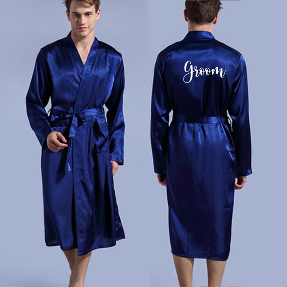 Groom Robe Emulation Silk Soft Home Bathrobe Nightgow