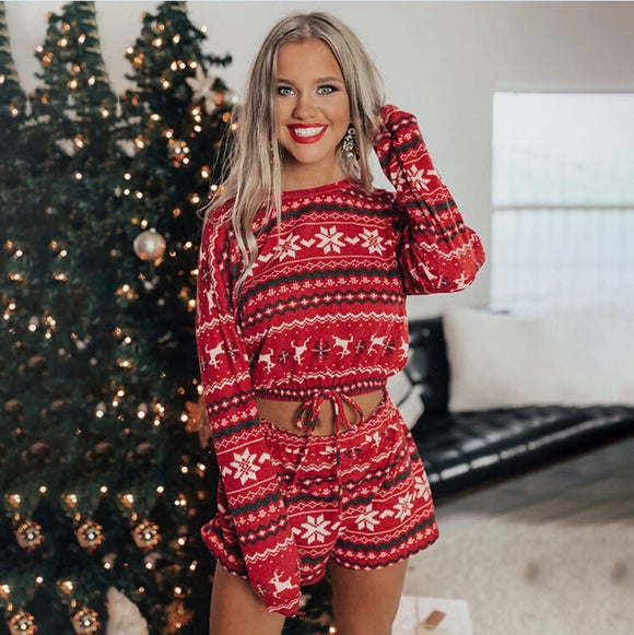 2020 New Women Christmas Pajama Sets Long Sleeve