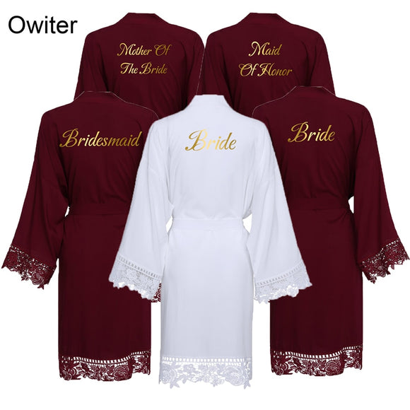 Burgundy Cotton Lace robe Women