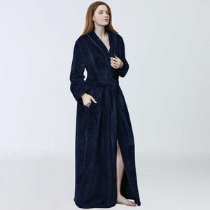 Women Bathrobe Winter Thicken Warm Flannel Bath Robe