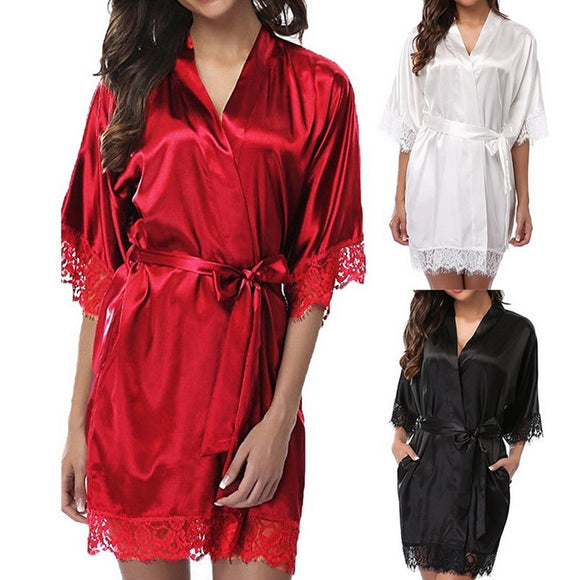 Women Short Satin Dress Nightgown