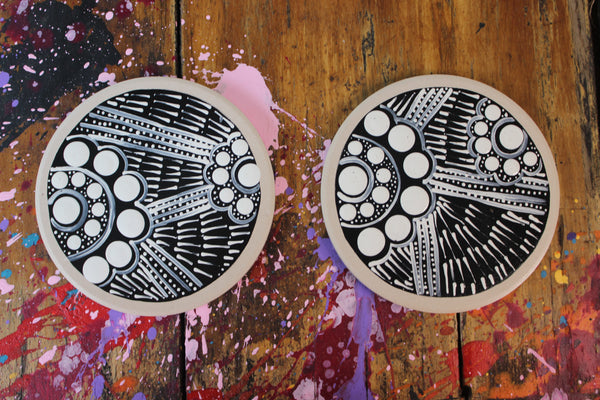 Black and White 'Desert Trails' Ceramic Coaster Set
