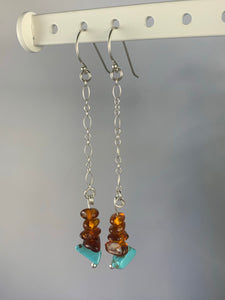 Stirling Silver Amber and Dyed Howlite Drop Earrings