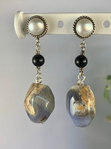 Stirling Silver, Onyx, Pearl and Blue Agate Drop Earrings