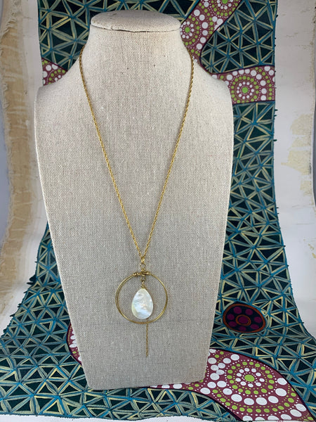 Gold Tone and Abalone Shell Necklace