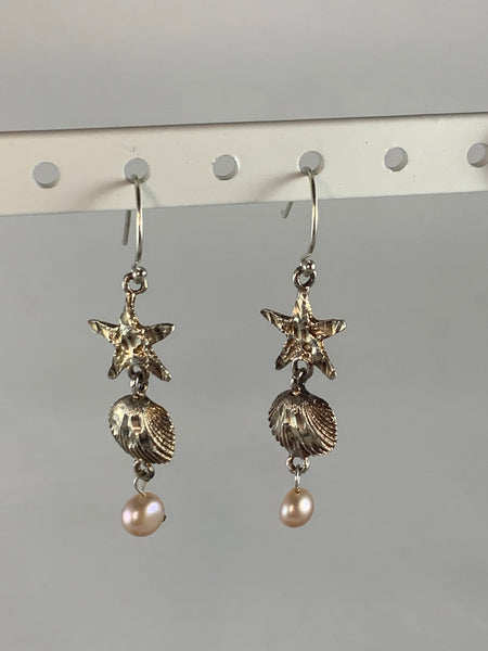 Stirling Silver Pearl Ocean Themed Drop Earrings