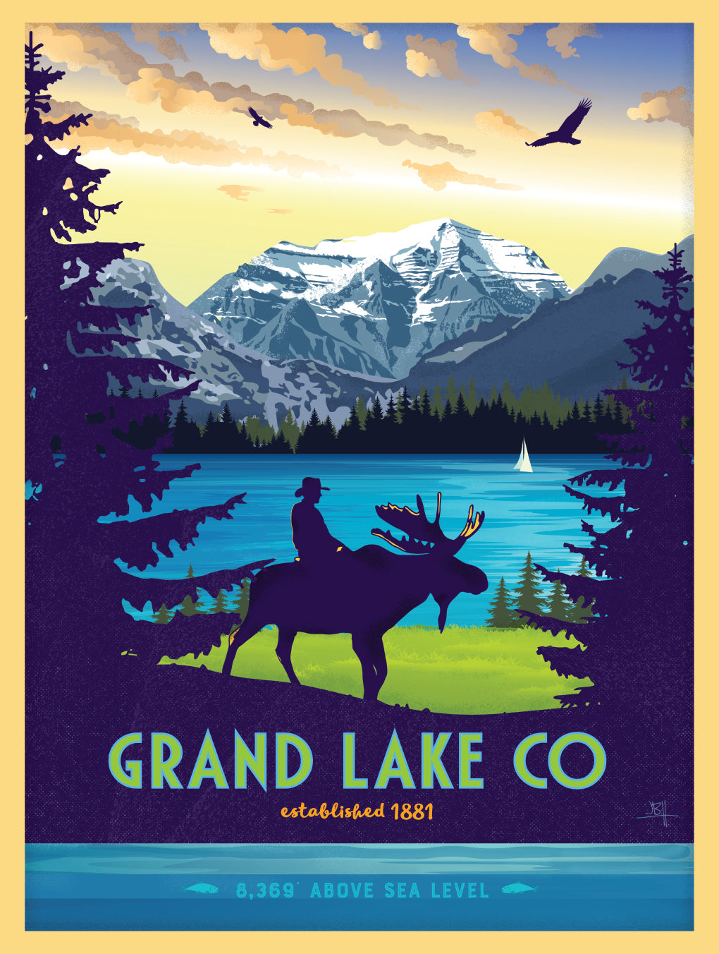 Grand Lake Colorado Poster - Summer w/ Rider: Limited Addition