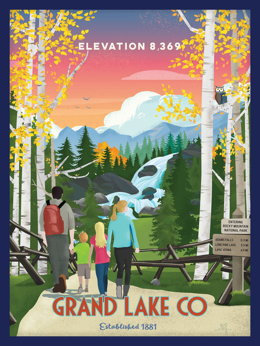 Grand Lake Colorado Poster - Fall w/ Family: Limited Addition