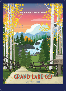 Grand Lake Colorado Postcard- Fall