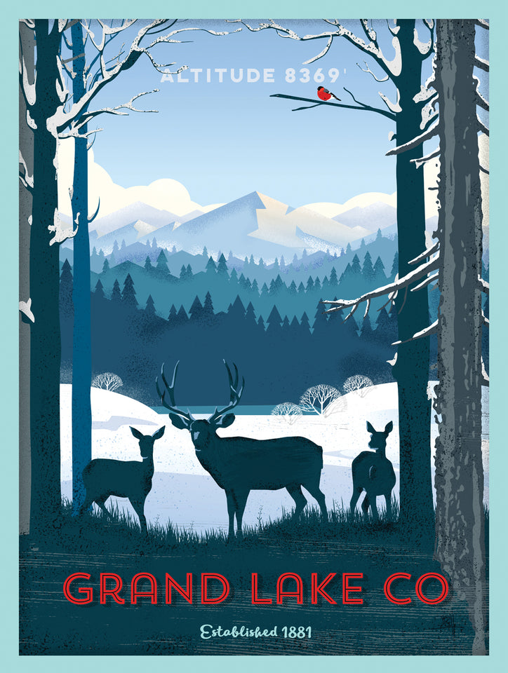 Grand Lake Colorado Poster - Winter