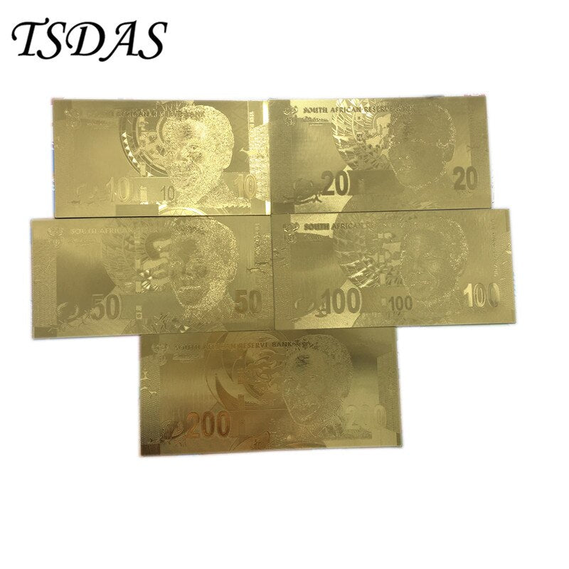 Nice Golden South Africa Banknote Set, 5pcs Gold Foil Banknote Rand Currency Souvenir For Decoration