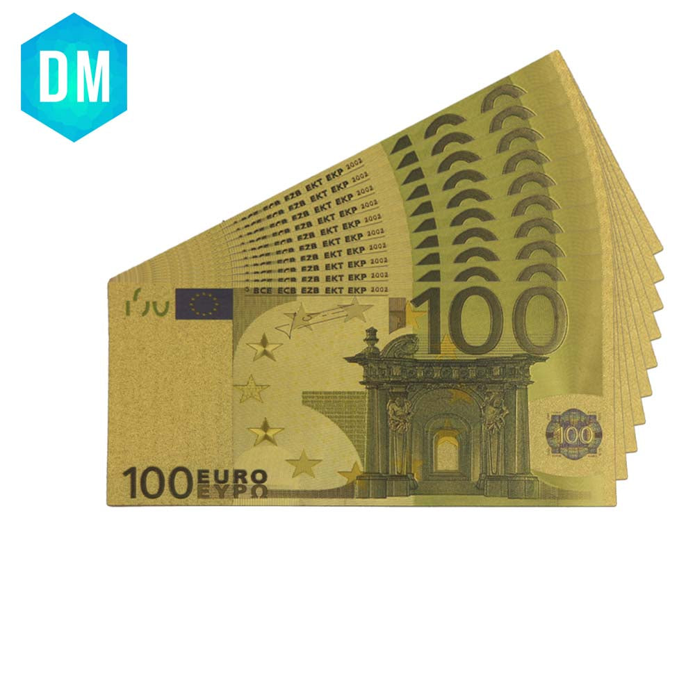 24k Gold Banknotes Foil Euro 100 Bills European Union Paper Fake Money Collections Currency Vintage Souvenir Make Money Selling