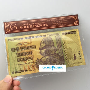 10pcs Zimbabwe 100 Trillion Dollar Currency Gold Banknote Collection With COA Frame