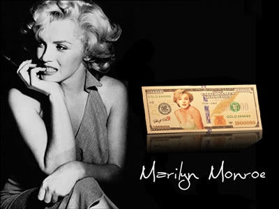 RH United States Of Marilyn Monroe America Gold Foil Banknote Currency Collections Gift