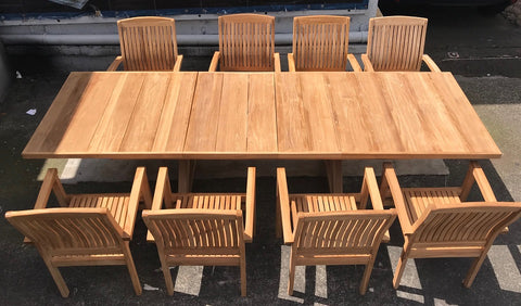 TEAK WOODEN TABLE AND 8 CHAIRS (TARZAN SET)