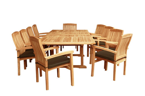 TEAK TABLE AND 10 CHAIRS