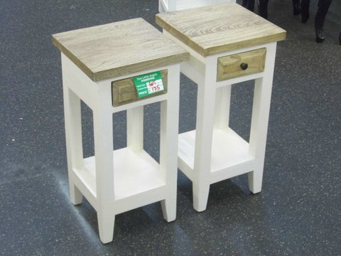 MINDI BED SIDE TABLES ( 2 PCS - White Legs)