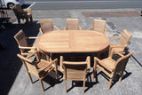 TEAK TABLE AND 8 HAMPTON CHAIRS SET (Oval - Medium)
