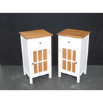 MAHOGANY BED SIDE TABLES ( 2 PCS - One drawer and One Door - White and Brown