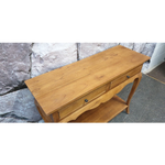 HALL TABLE ( Solid Mindi - Two Drawers - Wood Colour)