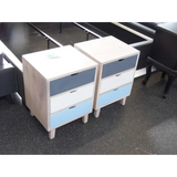 MINDI BED SIDE TABLES (2 PCS - THREE DRAWERS - TRICOLOUR