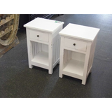MAHOGANCY BED SIDE TABLES ( 2 PCS - 1 DRAWER - WHITE)