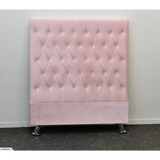King Single Pink Velvet Headboard - Dahlia