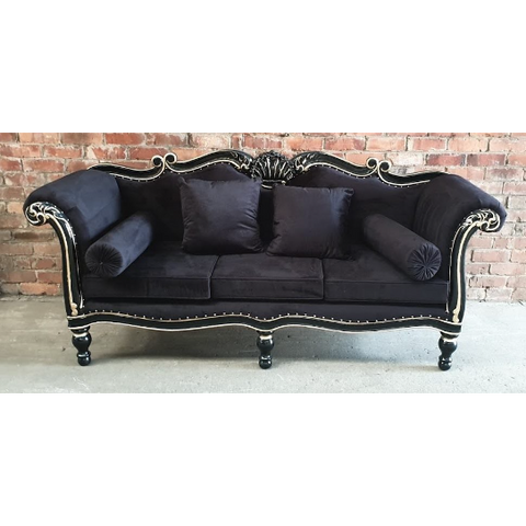 FRENCH CHAISE LOUNGE (Mahogany - Black - Three Seater)