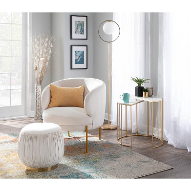 OCCASIONAL ARM CHAIR WITH OTTOMAN (White)