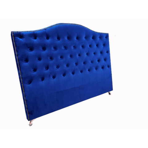 King Blue Velvet Headboard - Nero